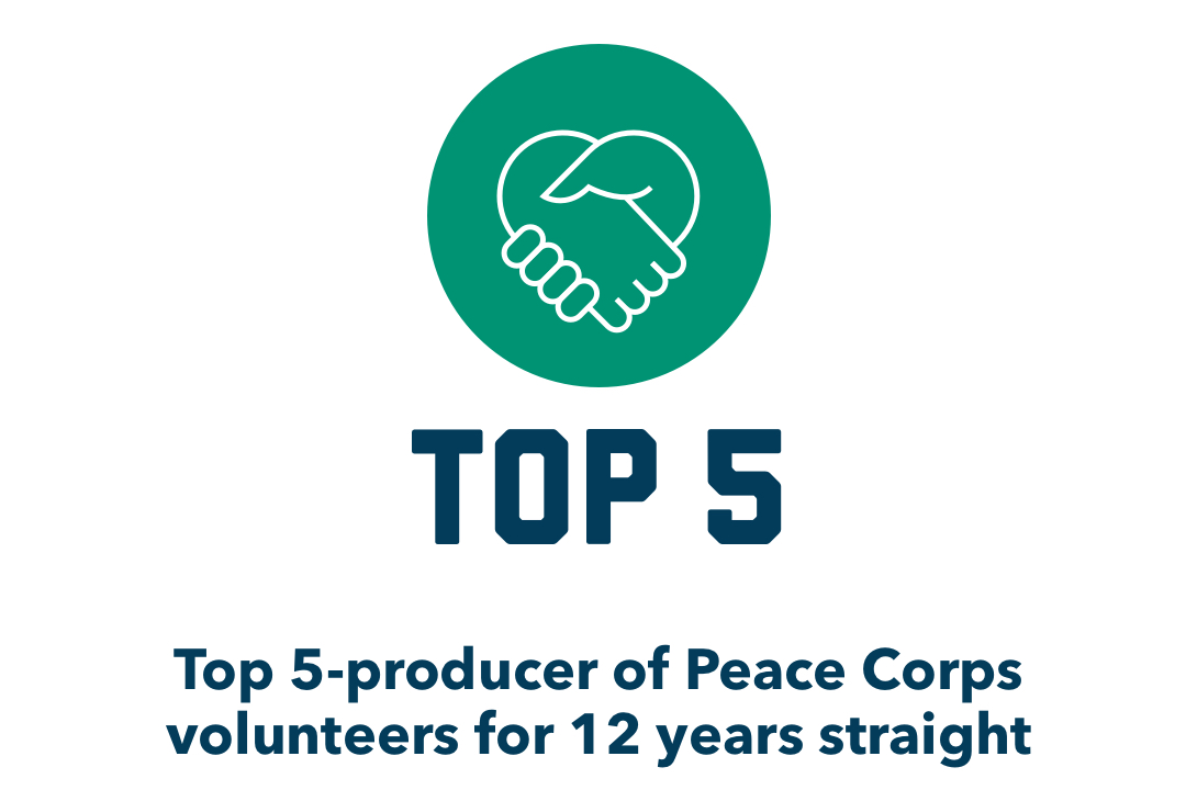 Graphic: Top 5 producer of Peace Corps Volunteers for 12 Years Straight