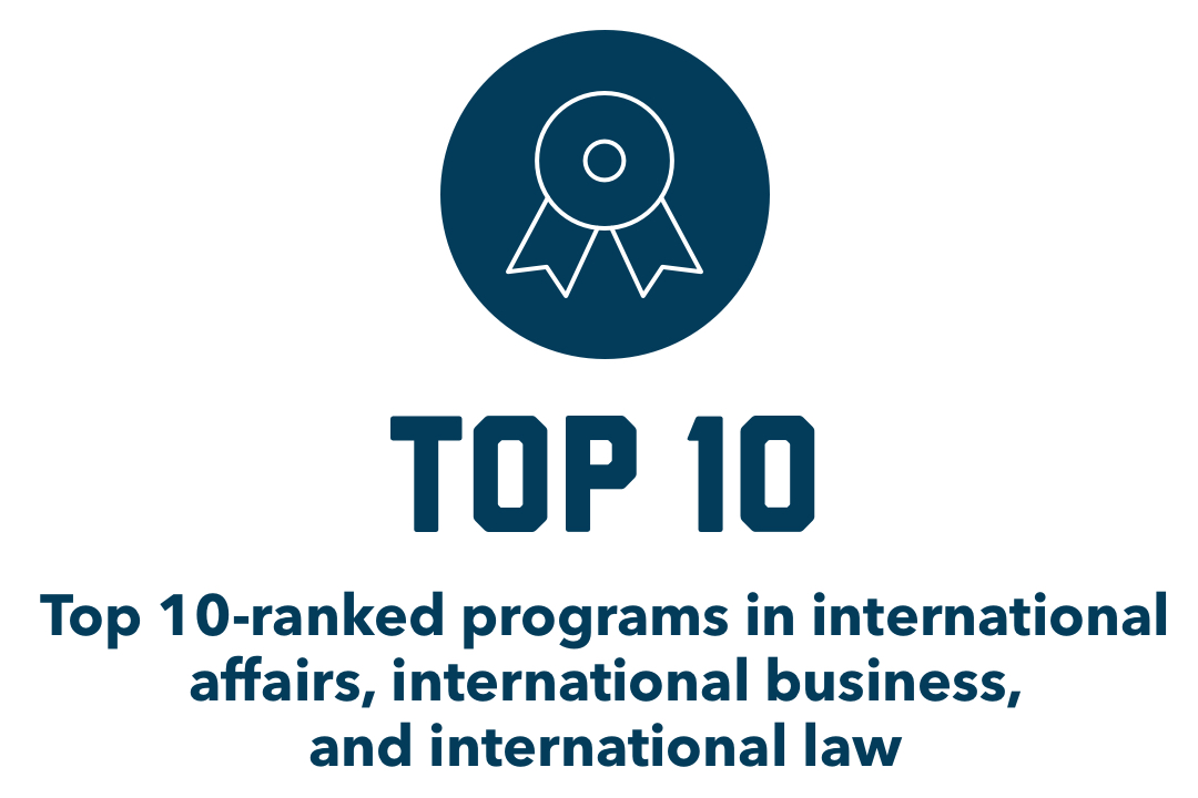 Top 10: Top 10 ranked programs in international affairs, international business, and international law